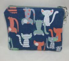 Navy cat fabric pouch purse dog cat treat bag money plastic lined handmade