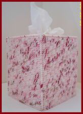 PINK RED WHITE PEPPERMINT HANDMADE PLASTIC CANVAS TISSUE BOX COVER TOPPER