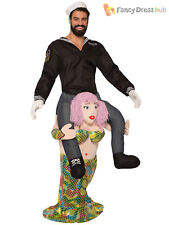 Adults Piggy Back Mermaid Costume Mens Sailor Fancy Dress Novelty Party Outfit