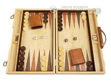 "15""x19"" Backgammon Set - Olive Burl Wood Board 