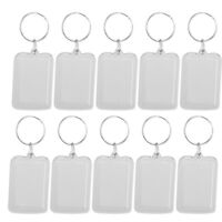 100pcs Key Chain Transparent Rectangle Photo Frame Holders for DIY Key Chain