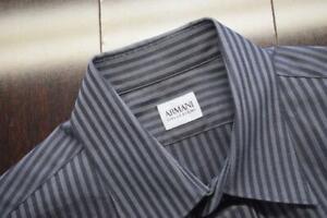 Armani Collezioni Dress Shirt Gray Striped Long Sleeve Button Up Mens Size Large