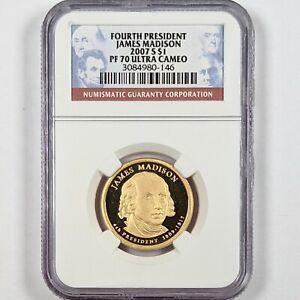 2007-S President James Madison $1 NGC PR 70 Ultra Cameo 181670B