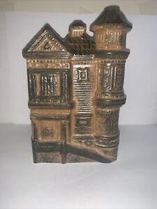 VTG Pottery Victorian House Black/Brown Planter Vase Utensil Jar