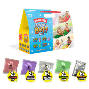 Mega Baff Pack 12 Use Fun Sensory Bath Gelli Slime Crackle Bombz - Zimpli Kids