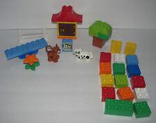 Lego Duplo 4624 Brick Box Green - Dog, Cat - Bricks, Flower, Door, Tree