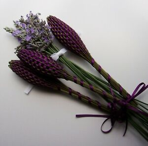 Lavender Filled Wands Gift Set of 3 Fragrant Floral Plum Thin Ribbon Handwoven
