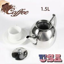 1.5L Capacity Stainless Steel Coffee Pour Over Kettle Drip Tea Pot w/ Filter US