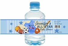 Sports Baby Shower Water Bottle Wrappers - 1st Birthday/Baby Shower Favors
