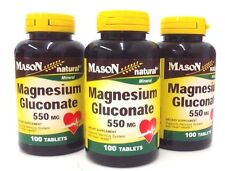 Mason Natural Magnesium Gluconate 550mg 100 Tablets pack of 3
