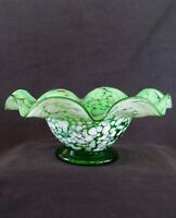 Vintage hand blown green glass bowl, 9 inches