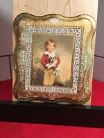 "Florentine Wood Gold Gilt Wall Plaque A Boy And Dog Print / Rustic  Frame 9""x8"""