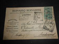 1906 DITTA BERNARDO BERNARDNI OFFICINA COSTRUZIONI FERRO LIVORNO CARTOLINA