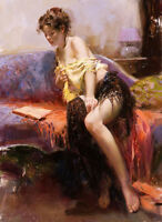 No framed canvas oil painting nice young girl after bathing on sofa reading book