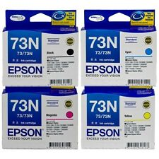 4x GENUINE EPSON 73N BLACK CYAN MAGENTA YELLOW (SET OF 4 INK CARTRIDGES) 73