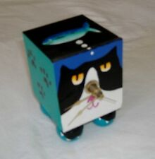 Tuxedo Cat Face And His Dream Fish-Hand Crafted-Clock Is Broken