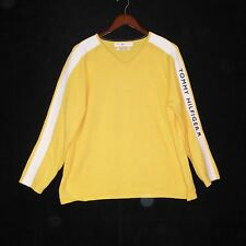 Womens TOMMY HILFIGER 2XL Sweater Yellow with Raised Lettering on Sleeve Vintage