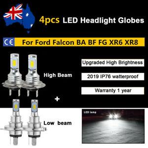 4Pcs H4 H7 LED Headlight Kit Bulbs Globes Lamp For Ford Falcon BA BF FG XR6 XR8