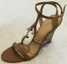 Badgley Mischka Amelia Tan Leather Ankle Strap Open Toe Wedges Heels Size 6 $355