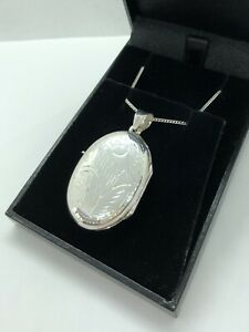 LARGE ENGRAVED OVAL LOCKET NECKLACE STERLING SILVER 925 PENDANT + CHAIN BOXED