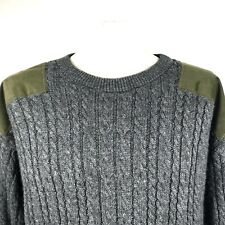 Gilles Gear Mens Sweater Cable Knit Crewneck Irish Fishing Wind Proof Large