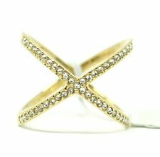 Michael Kors Goldtone Stainless Steel Brilliance Statement X Cross Ring 7 R1