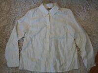 J Jill Button Down Blouse Ivory/Cream Damask Long Sleeve Shirt Size XS
