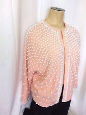 "Vintage Beaded Cardigan Sweater 1950s Pink Women Size Large 42"" Bust Wool Angora"