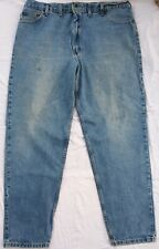 CARHARTT MEN'S DENIM Blue JEANS 44 x 34 Relax Fit Tapered Washed