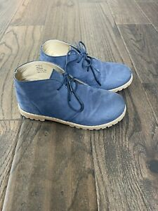 Janie And Jack Toddler Boys Chukka Blue Suede Leather Boots - Size 11