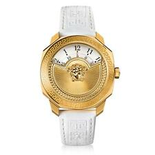 Versace Women's VQU010015 Dylos Icon Gold IP White Leather Wristwatch