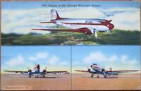 Chicago, IL 1942 Linen Aviation Postcard: Municipal Airport, Airplanes- Illinois