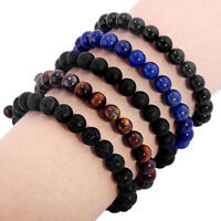 Natural Smooth Black/Blue Stone Beads Ball Braided Rope Bracelet Women Gift