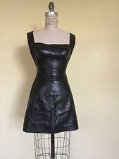 Vintage Rare Herve  Leger Paris genuine black leather dress from 1990's