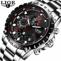 LIGE Watch Men's Fashion Sport Steel Leather Casual Business Quartz Wristwatches
