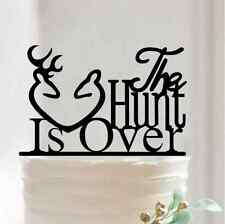 The Hunt Is Over Cake Topper Funny Deer Acrylic Wedding Birthday Party Decor