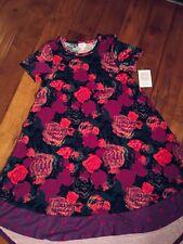 X-SMALL LuLaRoe CARLY purple pink green roses polkadot dipped dot NWT UNICORN XS