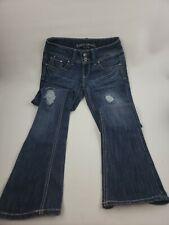 "Almost Famous Women's Jeans Size 3 2 Front Buttons 28""x33"" Rise 7"" Blue"