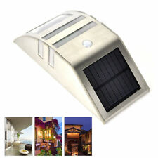 Outdoor Motion Sensor Solar Powered 2 LED Path Wall Light Garden Security Lamps Silver