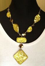 Yellow foil beaded necklace - NEW WITH TAGS - RRP $25