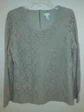 Chico's LACE Top Shirt Blouse 1 2 S M Taupe Cotton Nylon SPANDEX Long Slv Zipper