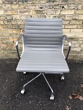 HERMAN MILLER EAMES ALUMINUM GROUP MANAGEMENT CHAIR SMOKE LEATHER