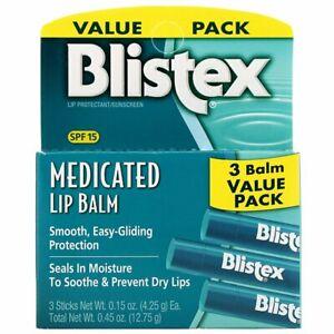 Blistex, Medicated Lip Balm, Lip Protectant/Sunscreen, SPF 15, 3 Balm Pack NEW