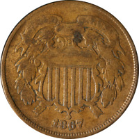 1867 Two (2) Cent Piece - Doubled Die Obverse Great Deals From The Executive Coi
