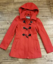 Women's Designer Guess Los Angeles Red Peacoat Jacket Size XS Wool Blend Hooded