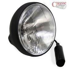 "7"" Headlight  / Headlamp- Satin Black Shell With Black Rim, Side mount"