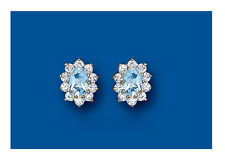 Blue Topaz Cluster Earrings Solid 9 Carat Yellow Gold Studs