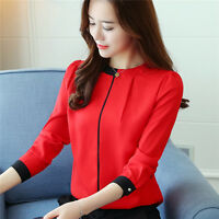 Spring Women Elegant Long Sleeve Casual Chiffon Blouse Slim Career OL Shirt Tops