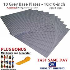 "BONUS! + Genuine LEGO piece + 10 Grey 10"" x 10"" Base plates compatible with LEGO"