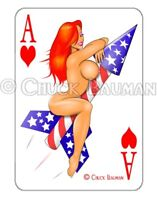 JESSICA RABBIT Patriot Rocket Rider pin-up playing card style sticker decal R